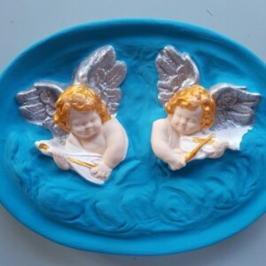 Anjos em quadro de gesso - ANGES