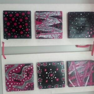 Quadro 6 quadrados rosa e preto - 6QUARP