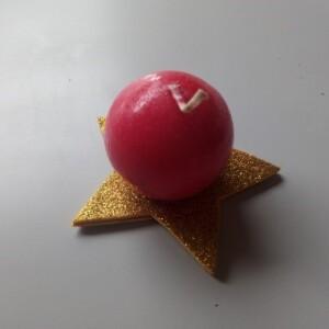 Vela base estrela bola vermelha - VBEB